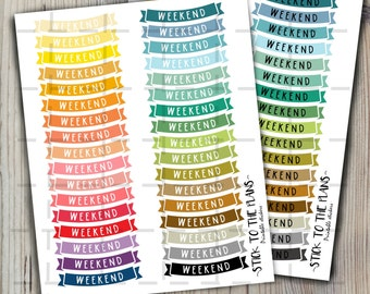 Weekend banners printable planner stickers bright colors weekend banners Happy planner Mambi planner for use with Erin Condren LifePlannerTM