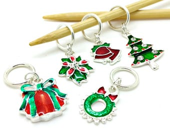 Christmas stitch markers - red green Xmas festive winter place holders - Christmas progress keepers for knitting or crochet