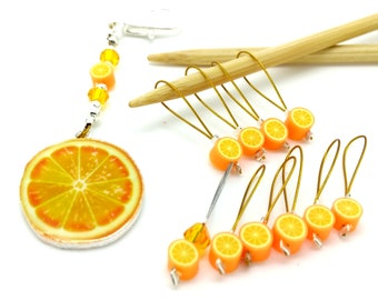 Orange stitch markers, orange non snag place keepers, set of ten fruit beaded stitchmarkers with holder