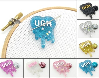 Ugh needle minder, cute needle minder, sassy needle nanny, cheeky magnet for cross stitch, embroidery magnet, needle keeper