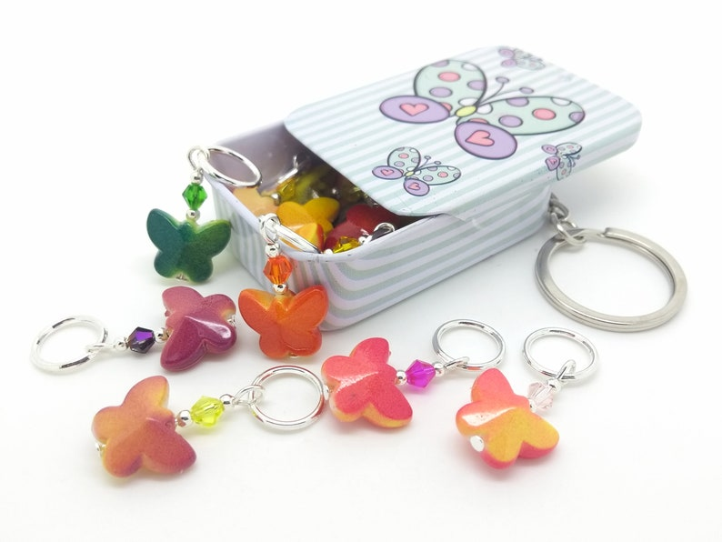 butterfly stitch markers, knitting notions tin, pretty rainbow butterfly  tin with 14 butterfly progress keepers, for knitting or crochet