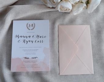 Rose Gold Metallic Hot Foil Calligraphy Letterpress Wedding Invitation Suite - Sample