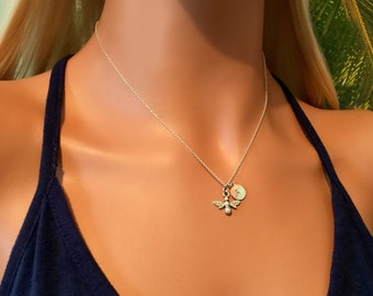 Bee Necklace - Sterling Silver Bee Necklace - Queen Bee Necklace - Personalised Initial Necklace - Tiny Bee Necklace