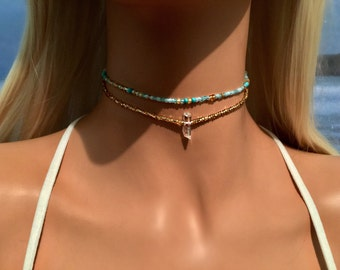 Turquoise Choker Necklace - Beach Choker - Boho Choker Necklace - Bohemian Necklace - Beach Jewelry