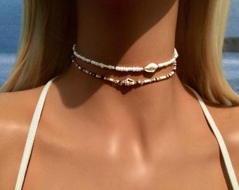 Shell Choker Necklace - Shell Jewellery  - Boho Choker Necklace - Bohemian Necklace - Beach Jewelry - Mermaid Choker - Bridal Choker