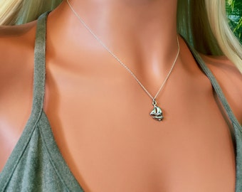 Sailboat Necklace - Silver Sailboat Necklace - Nautical Necklace - Sterling Silver Charm Necklace - Nautical Charm Necklace - Yacht Necklace
