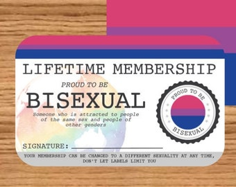 BISEXUAL Gay Pride identity card - Lifetime Membership Card -  LGBT Identity Card -  unique gift for the  rainbow community