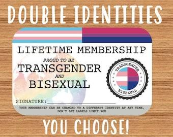 Double Identity LGBTQIA+ Lifetime Membership Card - Gay Pride Card - LGBT Identity Card -  perfect rainbow community gift