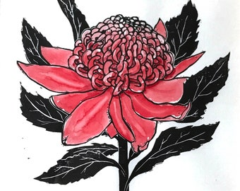 Waratah linoprint, Australia flower art, nature lover's gift, botanical print, floral wall art, original limited edition, nursery wall art
