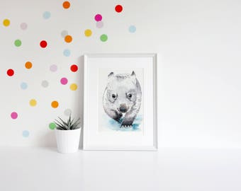 Baby Wombat Artwork, Wombat Wall Art, Animal Art Print, Wall Art Wombat, Kids  Room Wombat Art, Kids Room Wall Art, Nursery Wall Art,