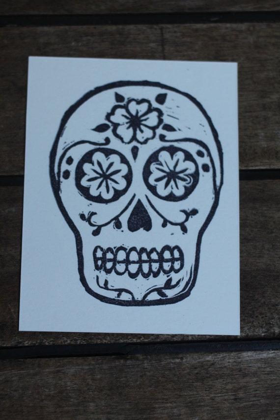 Sugar Skull Stamp Halloween Rubber