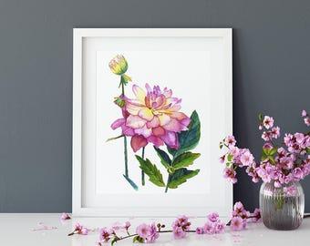 Pink peony art print, watercolour peony art, peony wall art, romantic art print, pink floral art, teen girl room art, romantic wall art