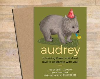 Digital download, Customised printable birthday invitation, wombat printable invite, print-at-home invite, digital invitation, customised