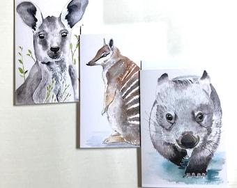 Australian animals Greeting card set, wombat card, Set of three, Australian souvenir, nursery wall art, kids birthday card, blank card set