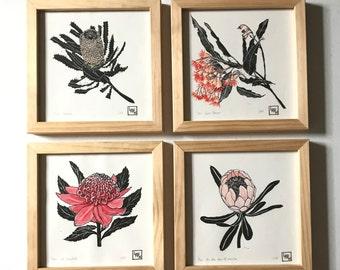 Protea, banksia, gum flowers, waratah linoprint set of four, Australian souvenir, botanical linoprint, floral art, original limited edition