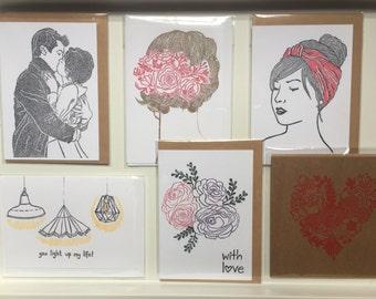 Linoprint card set, Valentines card set, anniversary cards, handprinted card set, romantic card set, Wedding cards, cards for engagement