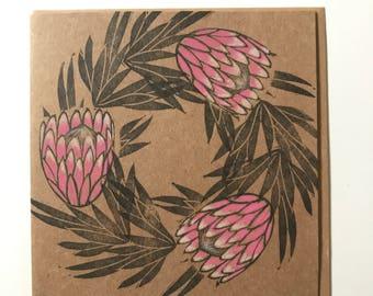 Protea flower card,mother's day card, protea flower print, protea wedding card, handmade protea card, protea art, pink protea lino print