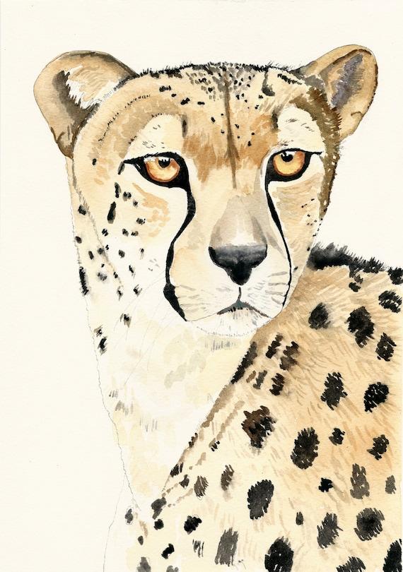 Cheetah wall decor watercolour cheetah cheetah art print | Etsy