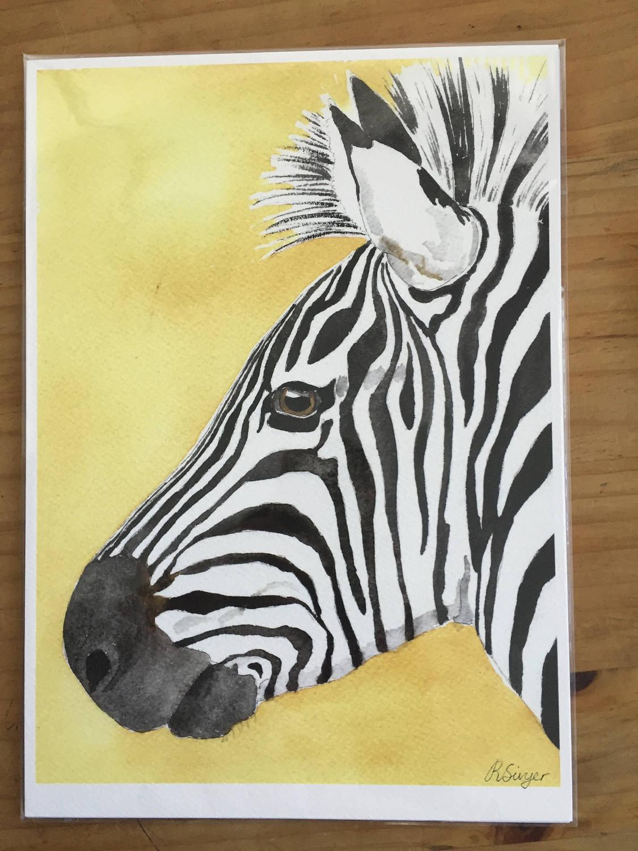 Zebra art print zebra portrait watercolour print nursery | Etsy