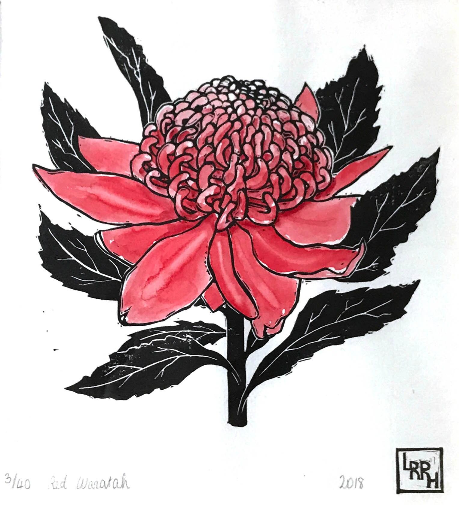Waratah Linoprint Australia Flower Art Nature Lover S Etsy