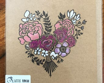 Mother's Day card, love card, floral heart card, printed by hand, romantic card, anniversary card, handprinted card, heart illustration