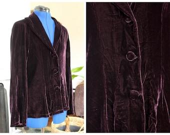 Vintage 1990s Plum Aubergine Maroon Purple Velvet Lightweight Button-Up Blazer Jacket Size Medium UK 14