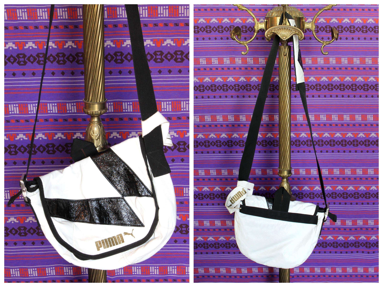 16dca2786279 Vintage 90s Black and White Puma Geometric Small Mini Shoulder