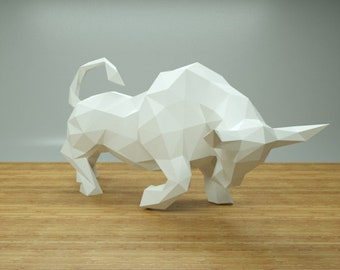 XXL Papercraft Bull, Paper Sculptures DIY, Low Polygon, Lowpoly Bull, 3D Papercraft, Gift