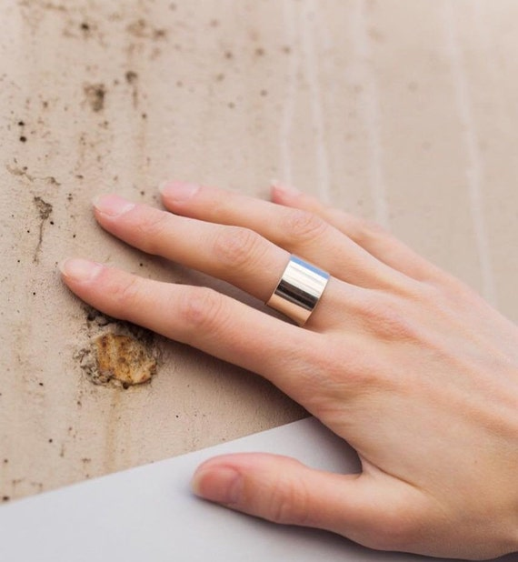 Ring for Boyfriend Silver Cigar Band Ring Sterling Silver Band Thumb Finger Boyfriend Wide Hammered Ring Wide Stacking Ring