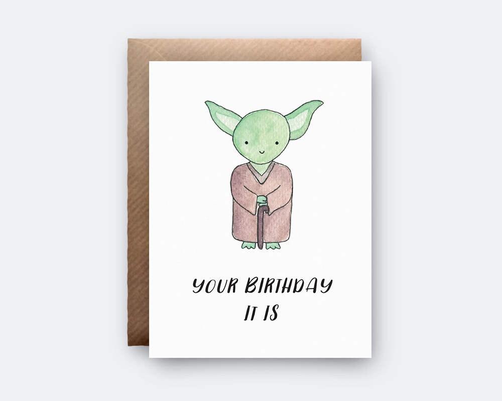 Yoda Geburtstagskarte Star Wars Yoda Wortspiel Liebe Etsy