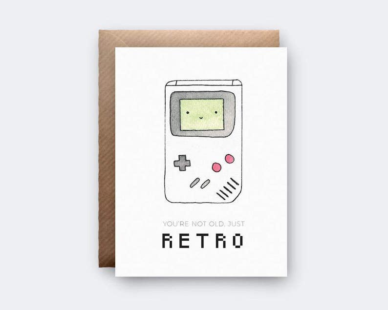 Retro Game Boy Birthday Card Nintendo Youre Not Old