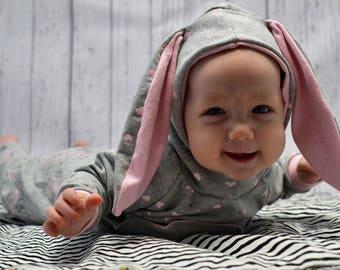 Bunny Hoodie With Ears, Gray Hoodie, Baby Gray Hoodie, Bunny Sweatshirt, Toddler Hoodie Bunny Ears, Cool baby sweatshirt,