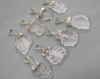 8 Pieces Natural Faden Quartz Pendant Sterling With Silver 925 Size====17x15x5mm to 23x12x5mm