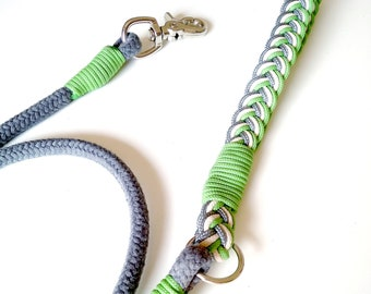 M SIZE, Cotton Leash for Labrador, Grey, Green, Samoyed, Boxer, Beagle, Border Collie, rope, handmade, Aquisette