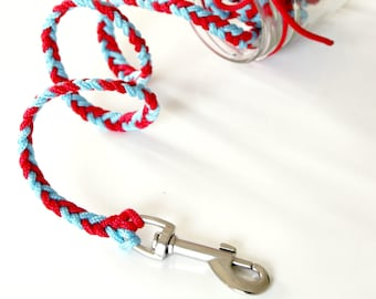 Leash for Bassoon, Westie, Jack Russell, small size, paracord, nautical rope, blue red