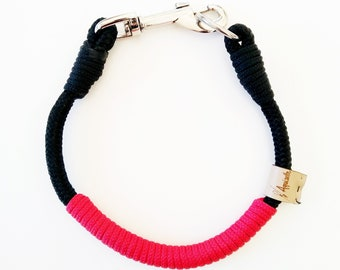 Size, Collar 30 cm, for medal, necklace, decorative, black, magenta red, rope, handmade, Jack Russell, Beagle