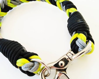 Dog collar, Small size, medal, with hook, black, gray, acid yellow, rope, handmade, Jack Russell, Cocker