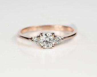 Diamond three stone ring- Diamond rose gold Engagement ring-Three stone ring-Promise Ring-Anniversary Ring-Sapphire Engagement Ring