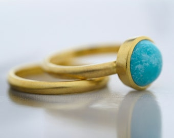 9K/14K Yellow Gold Turquoise Engagement Ring - Turquoise Ring-Stackable Ring-Birthstone Ring-Engagement and Wedding Rings Set-Made to Order