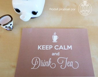 Map postcard the Keep calm and drink tea •