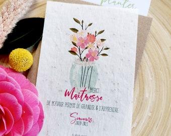 Mistress gift, Mistress thanks, Mistress planting card, Mistress end of year gift, Flower card