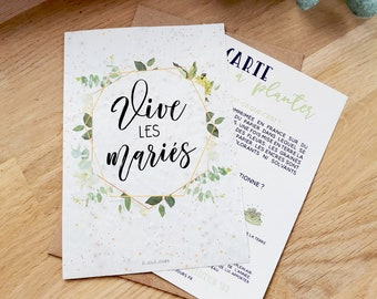 Long live the bride and groom planting card for wedding gift