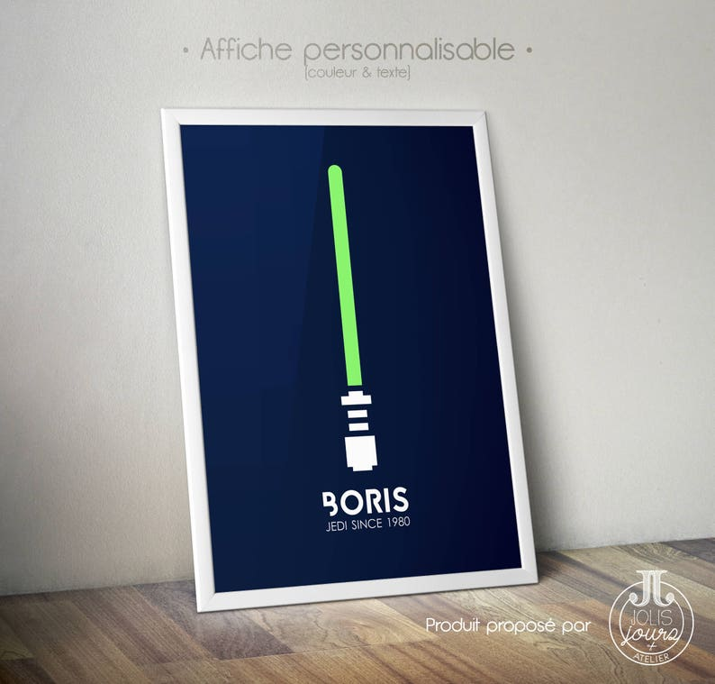 Star Wars poster  Jedi poster  Light saber to customize image 0
