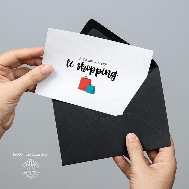 I love you card \u2022 I love you more than shopping \u2022 love postcard