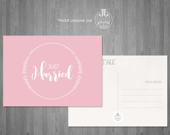 """Postcard pink """"Just married"""""""