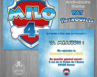 Pat Patrol Anniversary Invitation - Customizable