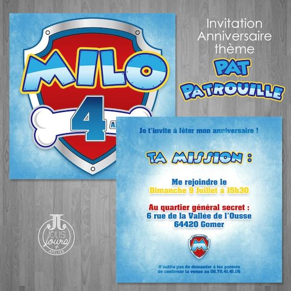 Invitation Anniversaire Pat Patrouille Personnalisable Etsy