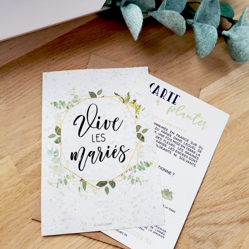 Long live the bride and groom planting card for wedding gift image 1