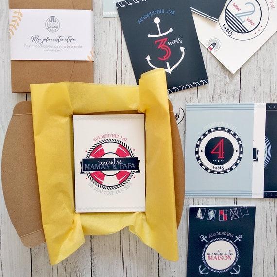 Cards Steps Baby 1st Year Birthday Gift Marine