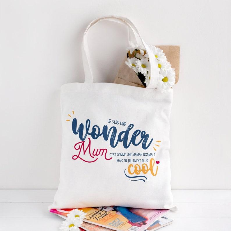 Tote bag Mom  Organic Cotton Tote bag  Tote bag wonder mum image 0